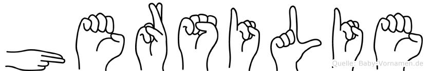 Hersilie im Fingeralphabet der Deutschen Gebärdensprache