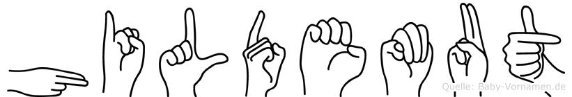 Hildemut im Fingeralphabet der Deutschen Gebärdensprache
