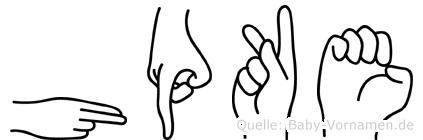 Höpke im Fingeralphabet der Deutschen Gebärdensprache