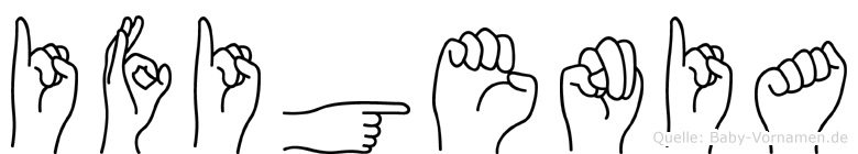 Ifigenia im Fingeralphabet der Deutschen Gebärdensprache