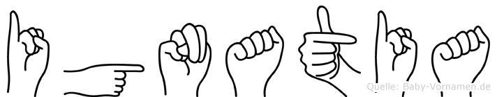 Ignatia im Fingeralphabet der Deutschen Gebärdensprache
