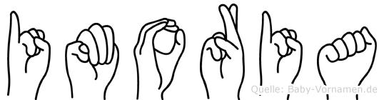 Imoria im Fingeralphabet der Deutschen Gebärdensprache