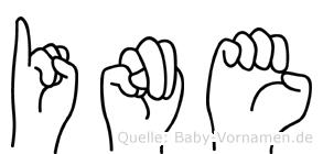 Ine im Fingeralphabet der Deutschen Gebärdensprache