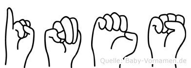Ines im Fingeralphabet der Deutschen Gebärdensprache