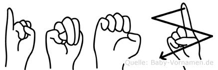 Inez im Fingeralphabet der Deutschen Gebärdensprache