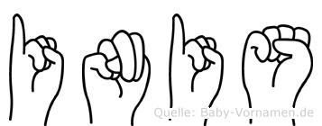Inis im Fingeralphabet der Deutschen Gebärdensprache