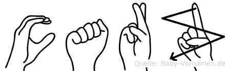 Carz im Fingeralphabet der Deutschen Gebärdensprache