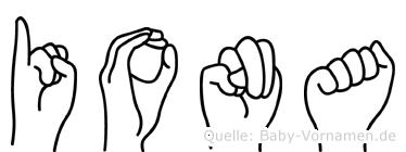 Iona in Fingersprache für Gehörlose