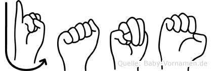 Jane in Fingersprache für Gehörlose