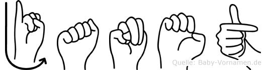Janet im Fingeralphabet der Deutschen Gebärdensprache