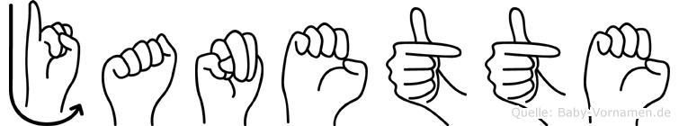 Janette im Fingeralphabet der Deutschen Gebärdensprache