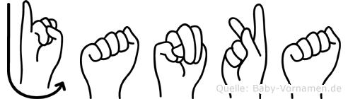 Janka im Fingeralphabet der Deutschen Gebärdensprache