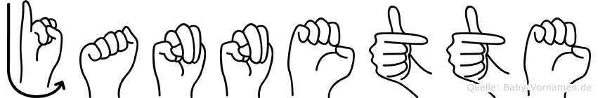 Jannette im Fingeralphabet der Deutschen Gebärdensprache