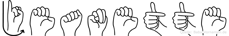 Jeanette in Fingersprache für Gehörlose