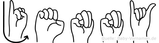 Jenny im Fingeralphabet der Deutschen Gebärdensprache