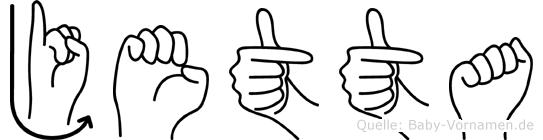 Jetta im Fingeralphabet der Deutschen Gebärdensprache