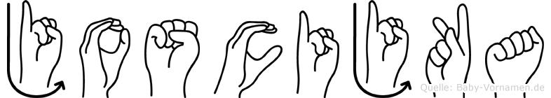 Joscijka im Fingeralphabet der Deutschen Gebärdensprache