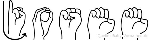 Josee im Fingeralphabet der Deutschen Gebärdensprache