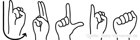 Julia im Fingeralphabet der Deutschen Gebärdensprache