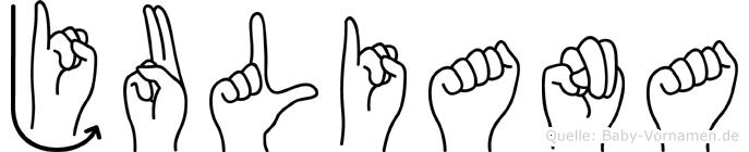 Juliana im Fingeralphabet der Deutschen Gebärdensprache