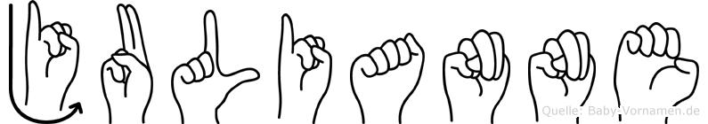 Julianne im Fingeralphabet der Deutschen Gebärdensprache
