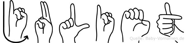 Juliet im Fingeralphabet der Deutschen Gebärdensprache