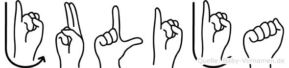 Julija im Fingeralphabet der Deutschen Gebärdensprache