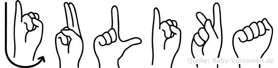 Julika im Fingeralphabet der Deutschen Gebärdensprache