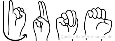 June in Fingersprache für Gehörlose