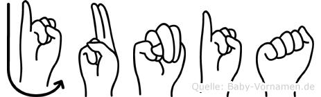 Junia in Fingersprache für Gehörlose