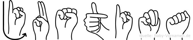 Justina in Fingersprache für Gehörlose