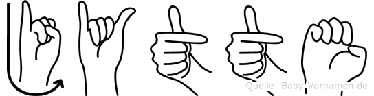 Jytte im Fingeralphabet der Deutschen Gebärdensprache