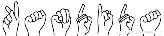 Kandida im Fingeralphabet der Deutschen Gebärdensprache