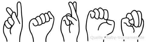 Karen im Fingeralphabet der Deutschen Gebärdensprache