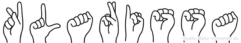 Klarissa im Fingeralphabet der Deutschen Gebärdensprache