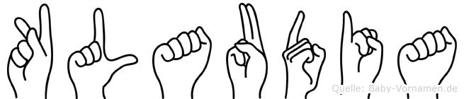 Klaudia im Fingeralphabet der Deutschen Gebärdensprache