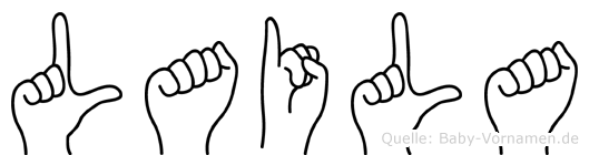 Laila im Fingeralphabet der Deutschen Gebärdensprache