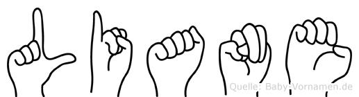 Liane im Fingeralphabet der Deutschen Gebärdensprache