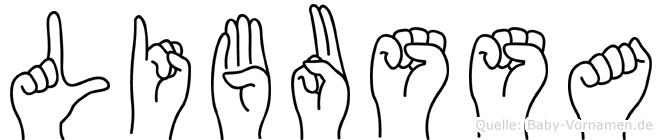Libussa im Fingeralphabet der Deutschen Gebärdensprache
