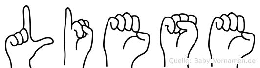Liese im Fingeralphabet der Deutschen Gebärdensprache