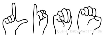 Line im Fingeralphabet der Deutschen Gebärdensprache