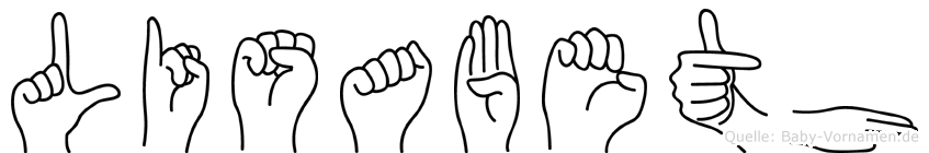 Lisabeth im Fingeralphabet der Deutschen Gebärdensprache