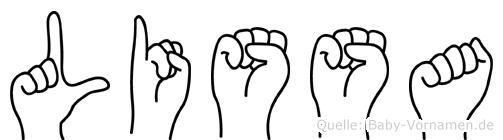 Lissa im Fingeralphabet der Deutschen Gebärdensprache