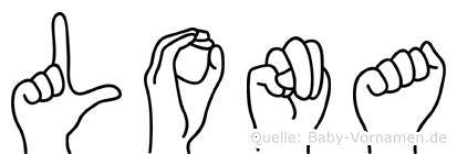 Lona im Fingeralphabet der Deutschen Gebärdensprache
