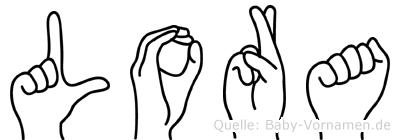 Lora im Fingeralphabet der Deutschen Gebärdensprache