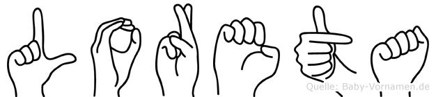 Loreta im Fingeralphabet der Deutschen Gebärdensprache