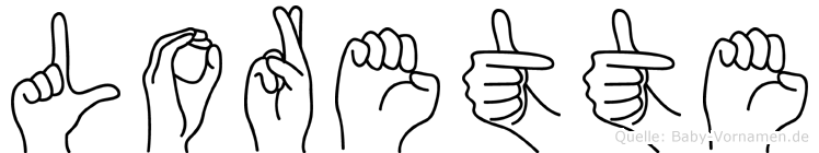 Lorette im Fingeralphabet der Deutschen Gebärdensprache