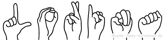 Lorina im Fingeralphabet der Deutschen Gebärdensprache