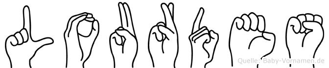 Lourdes im Fingeralphabet der Deutschen Gebärdensprache