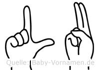Lu in Fingersprache für Gehörlose